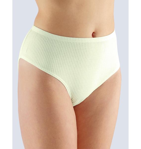 GINA dámské kalhotky klasické ve větších velikostech, větší velikosti, šité, jednobarevné 11029P - žlutobílá 54/56, vel. 58/60, žlutobílá