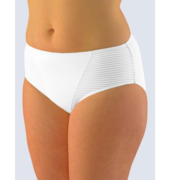 GINA dámské kalhotky klasické ve větších velikostech, větší velikosti, šité, jednobarevné 11054P - žlutobílá 42/44, vel. 42/44, Bílá
