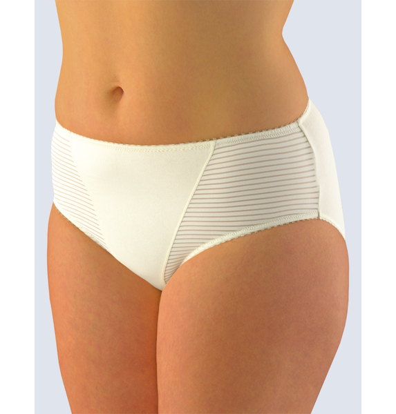 GINA dámské kalhotky klasické ve větších velikostech, větší velikosti, šité, jednobarevné 11054P - žlutobílá 42/44, vel. 42/44, žlutobílá