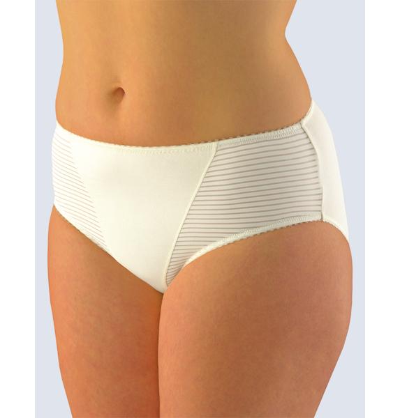 GINA dámské kalhotky klasické ve větších velikostech, větší velikosti, šité, jednobarevné 11054P - žlutobílá 42/44, vel. 54/56, žlutobílá