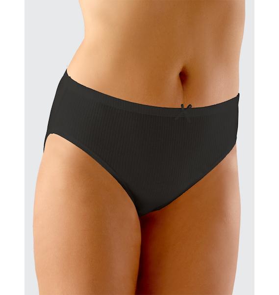 GINA dámské kalhotky klasické ve větších velikostech, větší velikosti, šité, jednobarevné Alice 11044P - žlutobílá 50/52, vel. 58/60, černá