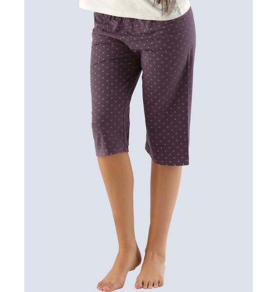 GINA dámské kalhoty 3/4 pyžamové dámské, bokové, 3/4 kalhoty, šité, s potiskem Pyžama 2014 19703P - hypermangan L, vel. M, Bílá