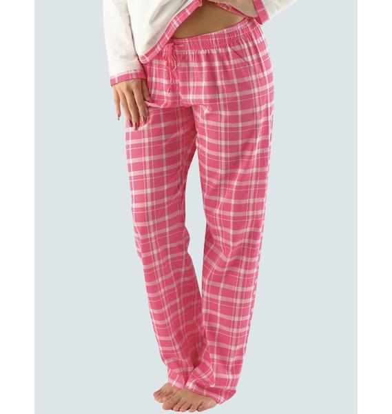 GINA dámské kalhoty dlouhé pyžamové dámské, bokové, šité, s potiskem Pyžama 2014 19006P - aqua bílá L, vel. S, třešňová bílá