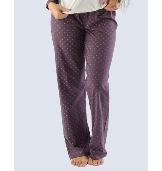 GINA dámské kalhoty dlouhé pyžamové dámské, bokové, šité, s potiskem Pyžama 2014 19702P - hypermangan M, vel. S, Bílá