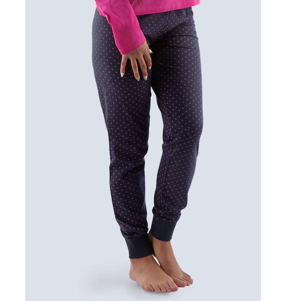 GINA dámské kalhoty dlouhé pyžamové dámské, bokové, šité, s potiskem Pyžama 2015 19725P - tm. šedá M, vel. S, lékořice