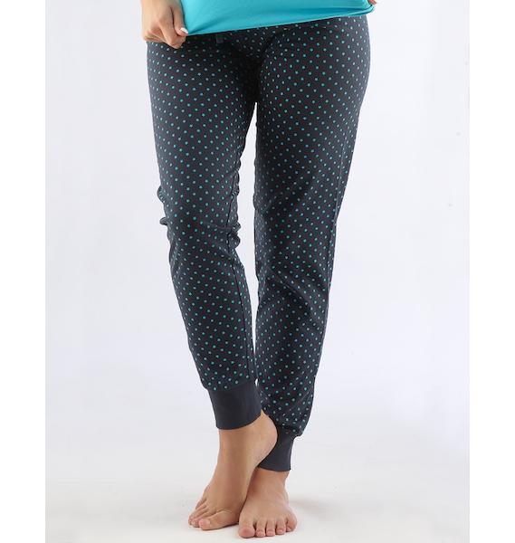 GINA dámské kalhoty dlouhé pyžamové dámské, bokové, šité, s potiskem Pyžama 2015 19725P - tm. šedá M, vel. S, tm. šedá