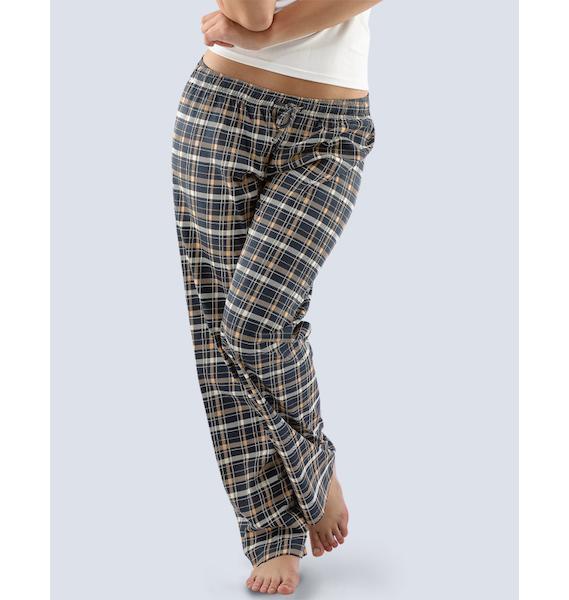 GINA dámské kalhoty dlouhé pyžamové dámské, bokové, šité, s potiskem Pyžama 2016 19029P - třešňová černá L, vel. M, lososová lékořice