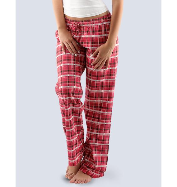 GINA dámské kalhoty dlouhé pyžamové dámské, bokové, šité, s potiskem Pyžama 2016 19029P - třešňová černá L, vel. L, třešňová černá