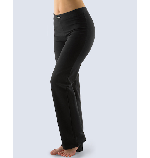 GINA dámské kalhoty dlouhé rovné základní délka, šité, klasické 96021P - černá L, vel. XL, černá