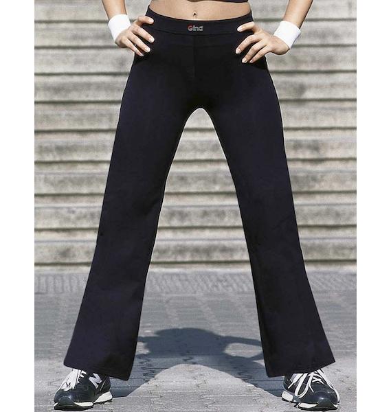 GINA dámské kalhoty dlouhé široké zkrácená délka, šité, klasické, jednobarevné 96015P - černá XL, vel. XXL, černá