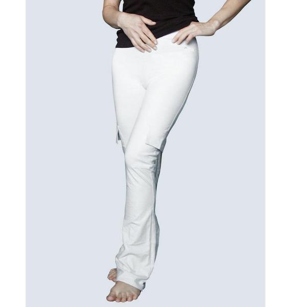 GINA dámské kalhoty zvonové prodloužená délka, dlouhé, šité, klasické, jednobarevné 96009P - lékořice S, vel. S, šedobílá