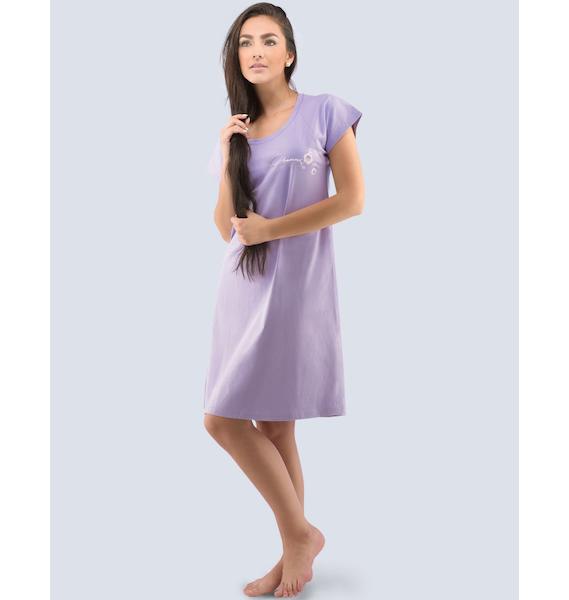 GINA dámské košilka noční dámská krátký rukáv, šité, s potiskem Pyžama 2016 19024P - jogurtová XL, vel. XXL, jogurtová