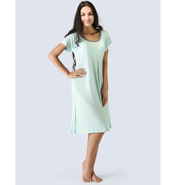 GINA dámské košilka noční dámská krátký rukáv, šité, s potiskem Pyžama 2015 19019P - aqua tm. šedá L, vel. L, aqua tm. šedá