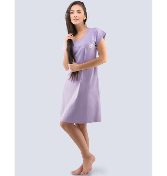 GINA dámské košilka noční dámská krátký rukáv, šité, s potiskem Pyžama 2016 19024P - achát XL, vel. XL, achát