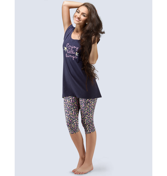 GINA dámské pyžamo 3/4 dámské, 3/4 kalhoty, šité, s potiskem Pyžama 2016 19036P - lékořice ametyst L, vel. L, vínová hypermangan