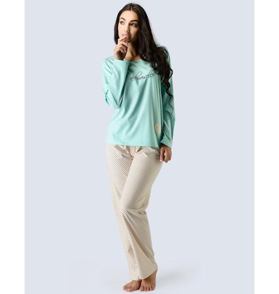 GINA dámské pyžamo dlouhé dámské, šité, s potiskem Pyžama 2015 19016P - aqua tělová M, vel. XL, aqua tělová