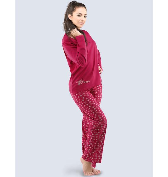 GINA dámské pyžamo dlouhé dámské, šité, s potiskem Pyžama 2016 19031P - lékořice povidlová S, vel. M, bordo bílá