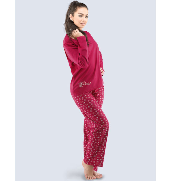 GINA dámské pyžamo dlouhé dámské, šité, s potiskem Pyžama 2016 19031P - bordo bílá S, vel. S, bordo bílá