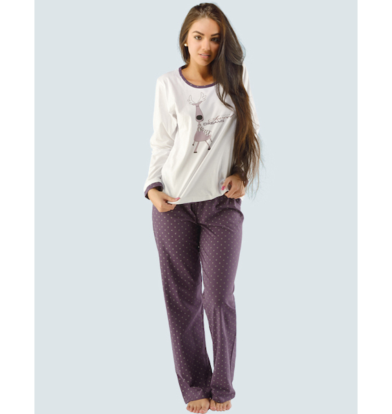 GINA dámské pyžamo dlouhé dámské, šité, s potiskem Pyžama 2014 19002P - hypermangan bílá L, vel. S, bílá hypermangan