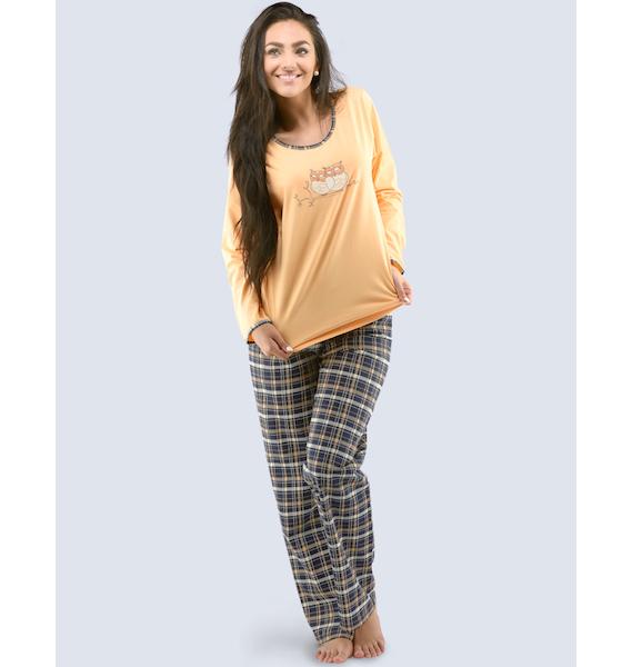 GINA dámské pyžamo dlouhé dámské, šité, s potiskem Pyžama 2016 19027P - třešňová černá L, vel. S, třešňová černá