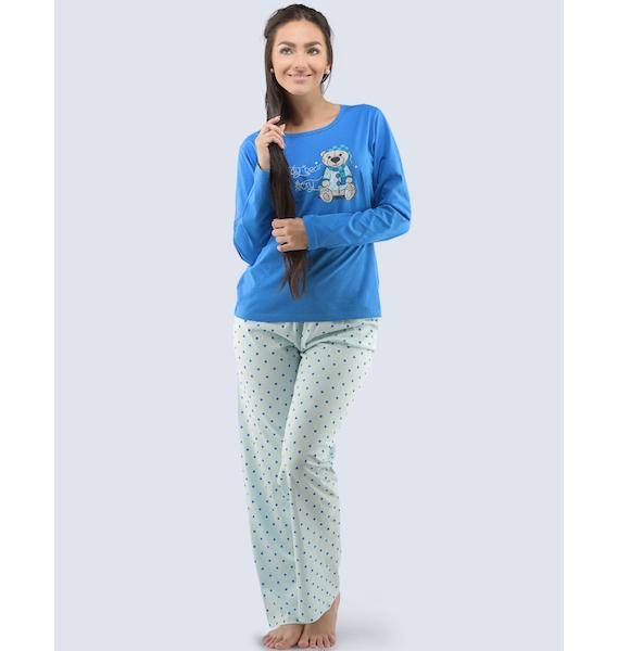 GINA dámské pyžamo dlouhé dámské, šité, s potiskem Pyžama 2016 19033P - atlantic aqua L, vel. S, atlantic aqua