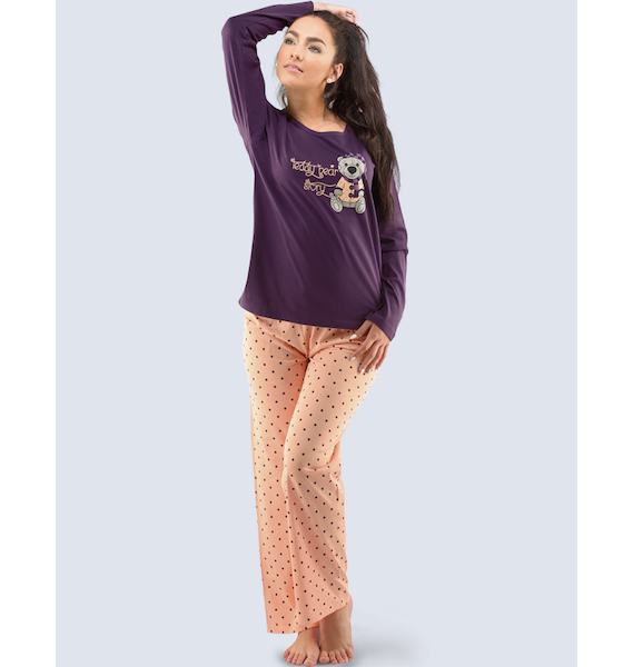GINA dámské pyžamo dlouhé dámské, šité, s potiskem Pyžama 2016 19033P - atlantic aqua L, vel. L, hypermangan broskvová
