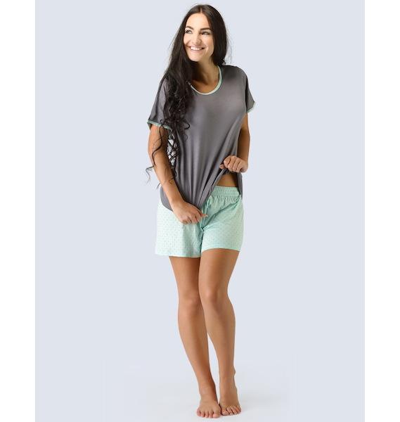 GINA dámské pyžamo krátké dámské, šité, s potiskem Pyžama 2015 19021P - aqua tm. šedá L, vel. M, aqua tm. šedá