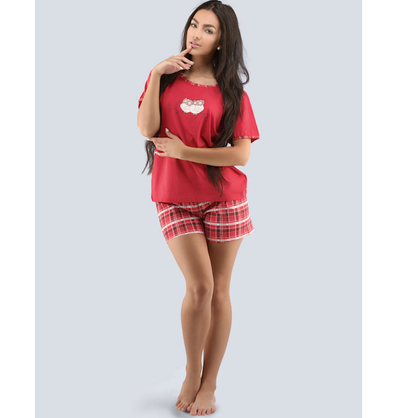 GINA dámské pyžamo krátké dámské, šité, s potiskem Pyžama 2016 19028P - třešňová černá M, vel. S, lososová lékořice