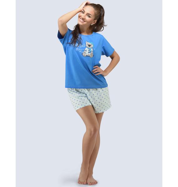 GINA dámské pyžamo krátké dámské, šité, s potiskem Pyžama 2016 19034P - atlantic aqua L, vel. M, atlantic aqua