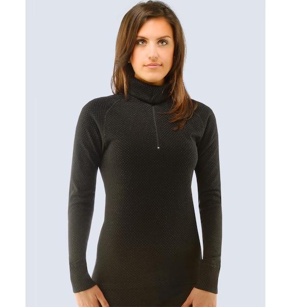 GINA dámské rolák se zipem s dlouhým rukávem dámský, šité, jednobarevné Merino 88012P - černá šedá M, vel. XS, černá šedá