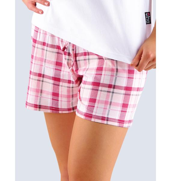 GINA dámské šortky pyžamové dámské, bokové, krátké, šité, s potiskem Pyžama 2013 19700P - bordo pudr S, vel. M, bílá bordo