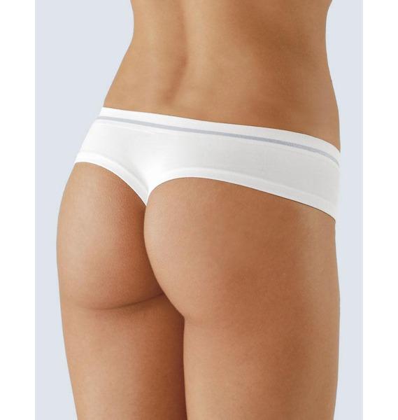 GINA dámské tanga francouzská, francouzské, bezešvé, bokové Bamboo 04017P - bílá tyrkysová M/L, vel. M/L, bílá tyrkysová