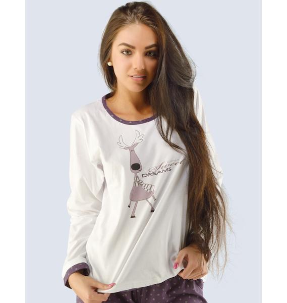 GINA dámské tričko s dlouhým rukávem dámské, dlouhý rukáv, šité, s potiskem Pyžama 2014 19402P - hypermangan M, vel. M, hypermangan
