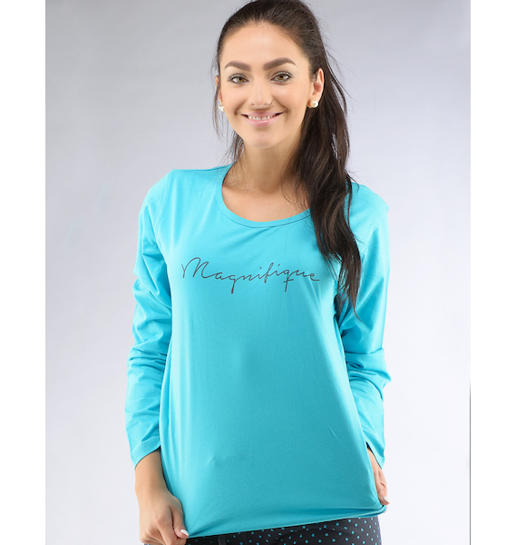 GINA dámské tričko s dlouhým rukávem dámské, dlouhý rukáv, šité, s potiskem Pyžama 2016 19425P - bordo M, vel. L, bordo