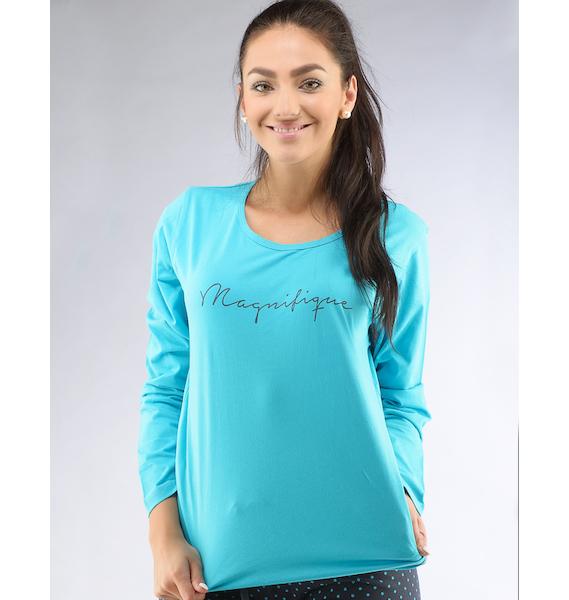 GINA dámské tričko s dlouhým rukávem dámské, dlouhý rukáv, šité, s potiskem Pyžama 2016 19425P - bordo M, vel. M, bordo
