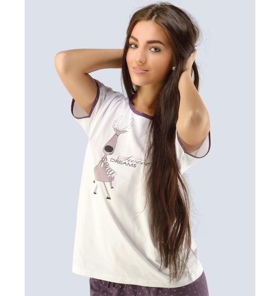 GINA dámské tričko s krátkým rukávem dámské, krátký rukáv, šité, s potiskem Pyžama 2014 19403P - hypermangan S, vel. S, Bílá