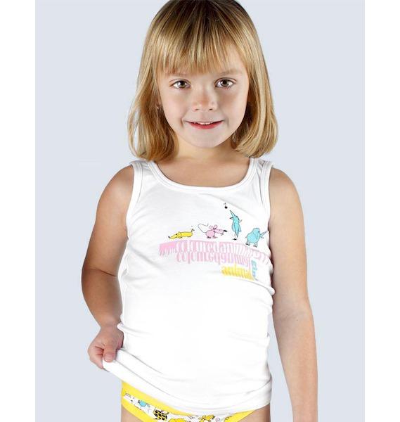 GINA dětské tílko dívčí, širší ramínka, šité, s potiskem Disco VI 28002P - bordo 122/128, vel. 134/140, Bílá