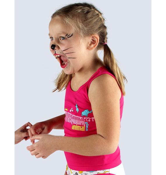 GINA dětské tílko dívčí, širší ramínka, šité, s potiskem Disco VI 28002P - bordo 122/128, vel. 134/140, bordo