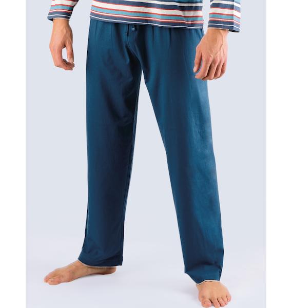 GINA pánské kalhoty dlouhé pyžamové pánské, šité, klasické, jednobarevné Pyžama 2013 79707P - lékořice M, vel. M, petrolejová