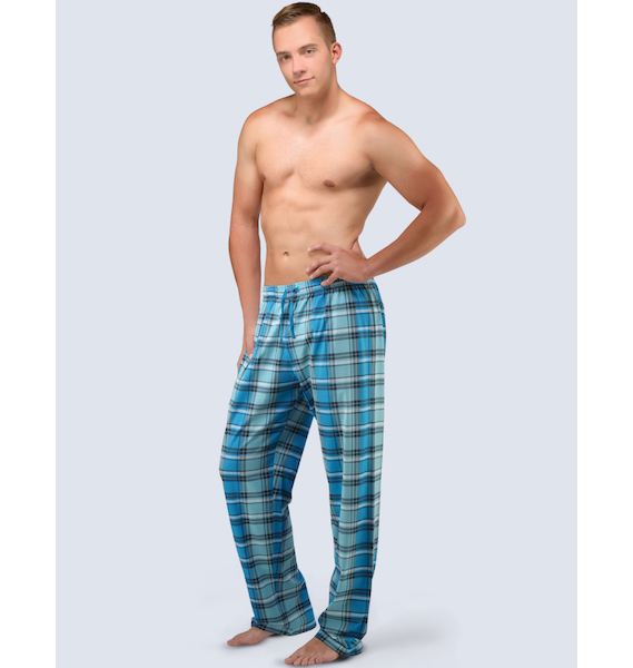 GINA pánské kalhoty dlouhé pyžamové pánské, šité, klasické, s potiskem Pyžama 2016 79037P - měsíc lékořice L, vel. XL, měsíc lékořice