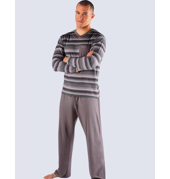 GINA pánské pyžamo dlouhé pánské, šité Pyžama 2013 79003P - tm. šedá lahvová XL, vel. L, tm. šedá brown