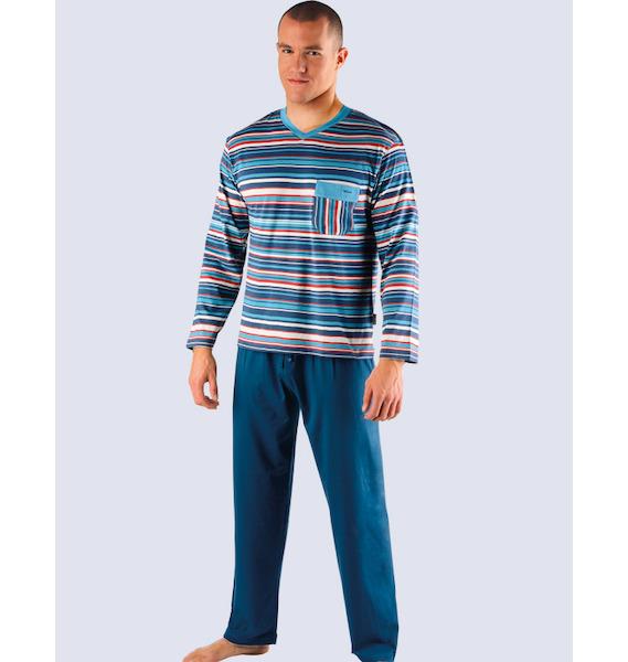 GINA pánské pyžamo dlouhé pánské, šité Pyžama 2013 79007P - tm. šedá L, vel. M, lékořice