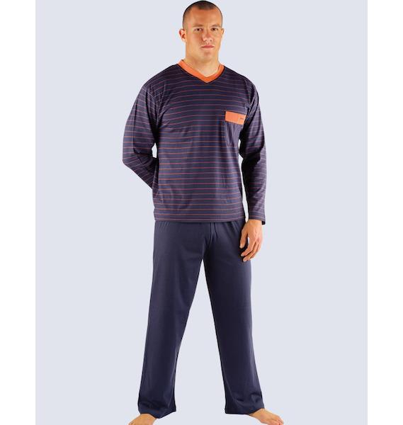 GINA pánské pyžamo dlouhé pánské, šité Pyžama 2013 79009P - černá kofola L, vel. XXL, tm. šedá karamelová