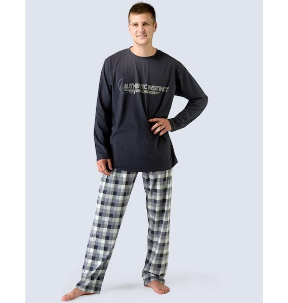 GINA pánské pyžamo dlouhé pánské, šité, s potiskem Pyžama 2015 79023P - šedobílá lékořice L, vel. XL, lékořice šedobílá
