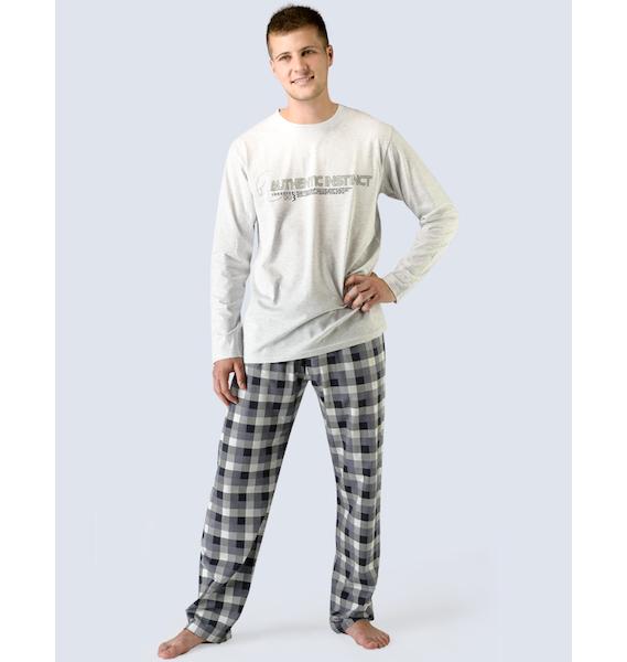 GINA pánské pyžamo dlouhé pánské, šité, s potiskem Pyžama 2015 79023P - šedobílá lékořice L, vel. XL, šedobílá lékořice