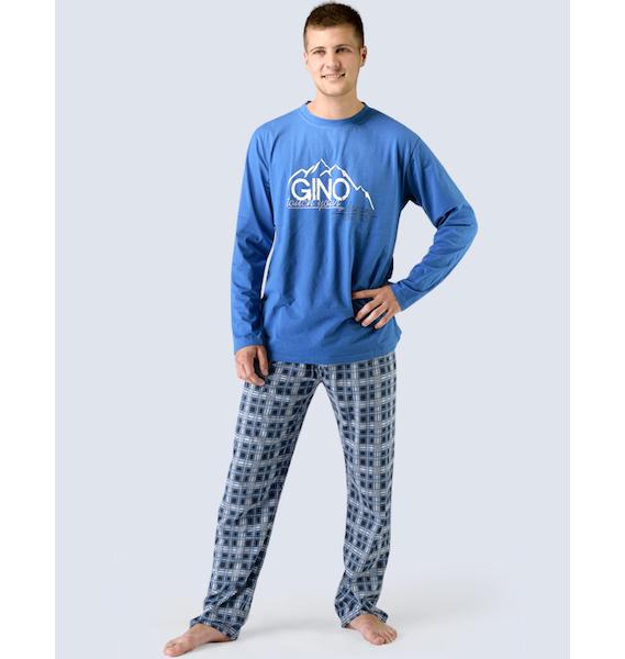 GINA pánské pyžamo dlouhé pánské, šité, s potiskem Pyžama 2015 79025P - atlantic lékořice L, vel. XL, atlantic lékořice