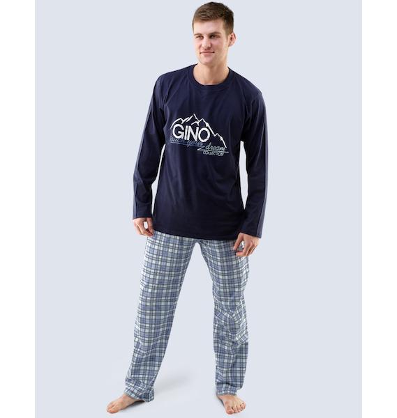 GINA pánské pyžamo dlouhé pánské, šité, s potiskem Pyžama 2015 79025P - atlantic lékořice L, vel. L, lékořice pomnenková