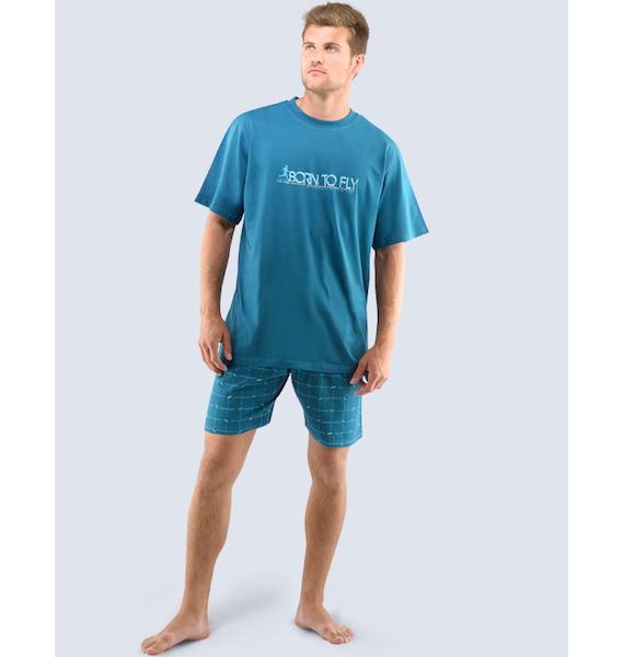 GINA pánské pyžamo krátké pánské, šité, s potiskem Pyžama 2016 79032P - petrolejová měsíc L, vel. XL, petrolejová měsíc