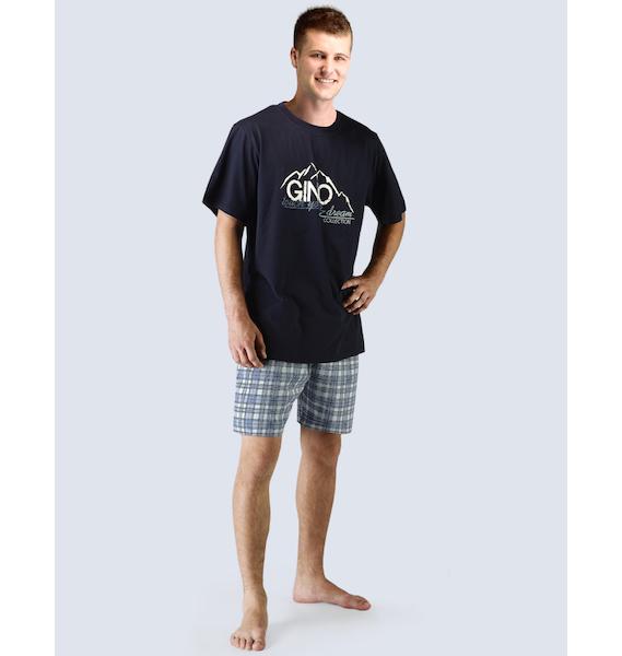 GINA pánské pyžamo krátké pánské, šité, s potiskem Pyžama 2015 79026P - atlantic lékořice M, vel. M, atlantic lékořice