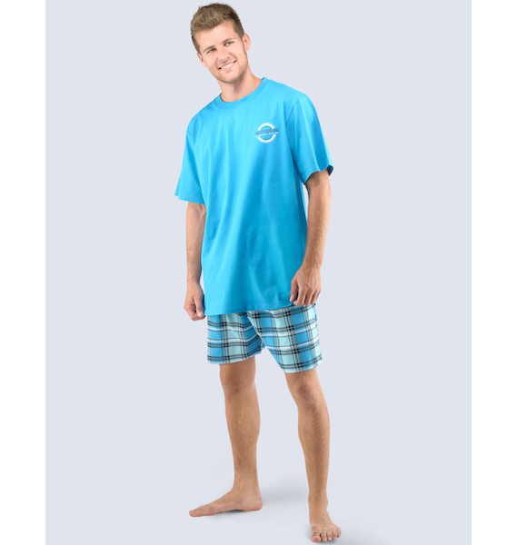 GINA pánské pyžamo krátké pánské, šité, s potiskem Pyžama 2016 79030P - měsíc lékořice XL, vel. L, měsíc lékořice